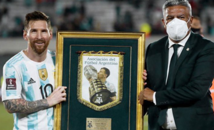 Messi is the first South American player to score 80 goals for his national team
